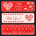 Valentine day web horizontal banner set. Royalty Free Stock Images