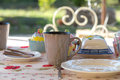 Valentine decorated breakfast table in tuin Royalty-vrije Stock Foto