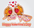 Valentine decoration sticker with two beloved birds on branch Royalty Free Stock Image