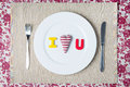 Valentine dinner concept i love you message on a white plate Stock Photography