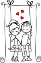 Valentine doodle boy and girl ,vector Royalty Free Stock Image