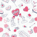 Valentine doodles seamless pattern Stock Photos
