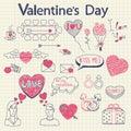 Valentine doodles set