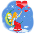 Valentine fairy with balloons a balloon in the shape of a heart Royalty Free Stock Photo