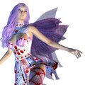 Valentine fairy with violet hair digitally rendered illustration of a on white background Royalty Free Stock Images