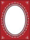 Valentine Frame or Tag With Gingham Trim Stock Images