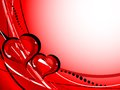 Valentine frame with two glass hearts Royalty Free Stock Image