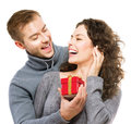 Valentine gift happy young couple with s day present Stock Photo