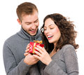 Valentine gift happy young couple with s day present Royalty Free Stock Images