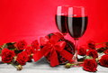 Valentine Gift, Red Wine and Roses Royalty Free Stock Image