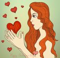 Valentine girl eps vector card beautiful red haired hand drawn with stylized hearts around her Stock Photo