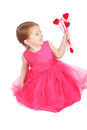 Valentine girl little holding hearts on white Stock Photos