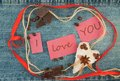 Valentine, greeting card with  brown coffee hearts, red ribbon, Royalty Free Stock Photo