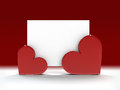 Valentine greeting card fixed by two hearts with copy space for your own text Royalty Free Stock Photo