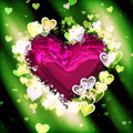 Valentine heart background colorful green with a red Stock Images