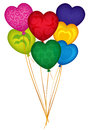Valentine heart balloons illustration colour in the shape of hearts Royalty Free Stock Image