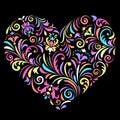 Valentine heart on black background