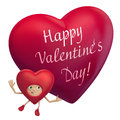 Valentine heart cartoon holding greeting text Stock Photo