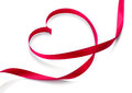 Valentine heart elegant red satin gift ribbon Stock Photography