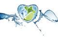 Valentine heart från den vattenfärgstänk mintkaramellen is och limefrukt Royaltyfri Bild