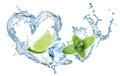 Valentine heart från den vattenfärgstänk mintkaramellen is och limefrukt Arkivbilder