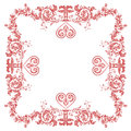 Valentine heart frame greeting and ornaments floral vintage valentines day vector illustration Royalty Free Stock Photography