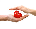 Valentine heart in hands man and woman isolated on white Royalty Free Stock Photography