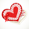 Valentine heart with lace on white background Stock Image
