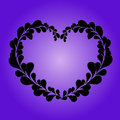 Valentine heart from leafs on lila background Royalty Free Stock Photos