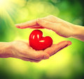 Valentine heart in man and woman hands over nature background Stock Images