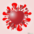 Valentine heart red and explosion of love Stock Photos