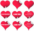 Valentine hearts stickers Stock Photos