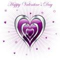 Valentine Hearts With Sunburst...