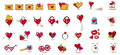 Valentine icons big collection of different kind vilentine Royalty Free Stock Photography