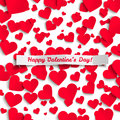 Valentine illustration red paper hearts on white background greeting card vector Stock Photography