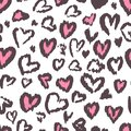 Valentine Leopard or cheetah seamless pattern. Trendy animal print. Spotted pink and dark gray hearts imitate jaguar fur. Vector Royalty Free Stock Photo