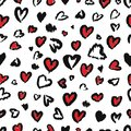 Valentine Leopard or cheetah seamless pattern. Trendy animal print. Spotted red and dark gray hearts imitate jaguar fur. Vector Royalty Free Stock Photo