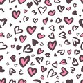 Valentine Leopard or jaguar seamless pattern. Trendy animal print. Spotted pink and dark gray hearts imitate cheetah fur. Vector Royalty Free Stock Photo