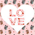 Valentine love card with owls and hearts Royalty Free Stock Photography