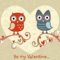 Valentine love card with owls and hearts Stock Photography