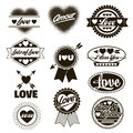 Valentine love labels seals crests one color Royalty Free Stock Photo