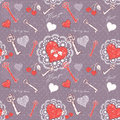 Valentine love seamless pattern with key to heart Royalty Free Stock Image