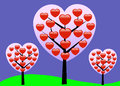 Valentine love tree vector Stock Foto's