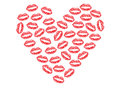 Valentine made of red kiss lips Stock Images