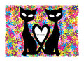 Valentine motive with cats and flowers color card two black Stock Photography