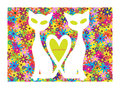 Valentine motive with cats and flowers color card two white Stock Photos