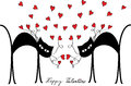 Valentine motive with cats and hearts color card two black cartoon red Royalty Free Stock Photography