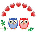 Valentine owls Royalty Free Stock Photos