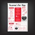 Valentine party invitation restaurant. Food flyer. Royalty Free Stock Photo