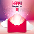 Valentine postcard with love letter surprise on defocused bokeh background, vector illustration Royalty Free Stock Photo